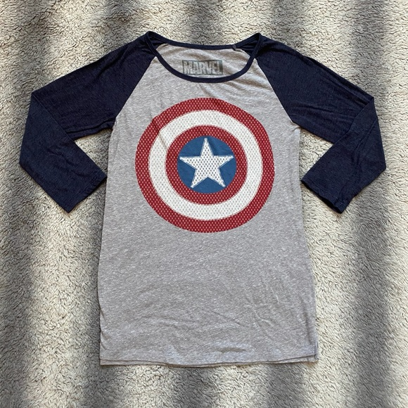 Marvels Captain America Long Sleeve Tee Mens Small